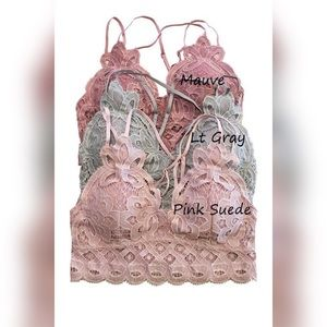 MED Anemone Pink Blush Suede Lace Stretch Bralette